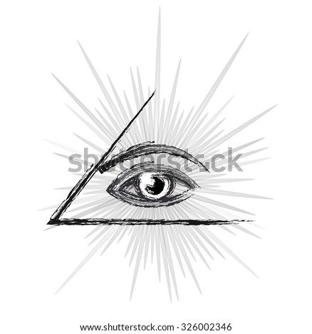 Masonic symbol - All seeing eye of providence in a pyramid, sketch black and white silhouette vector illustration isolated over white background - stock vector