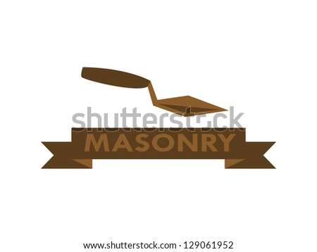 Masonry Icon with Banner. - stock vector