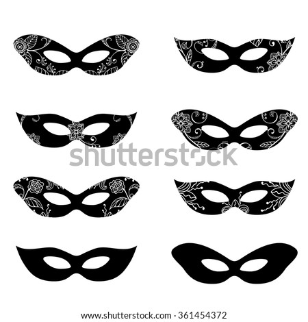 Masquerade mask silhouettes with decorative elements - stock vector