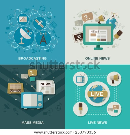 Mass media design concept set with broadcasting online news live news flat icons isolated vector illustration - stock vector