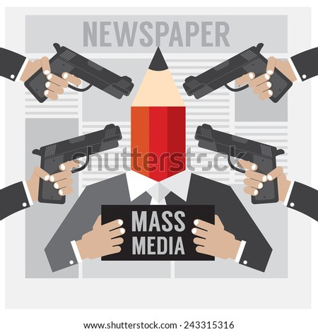 Mass Media Is The Hostage Vector Illustration - stock vector
