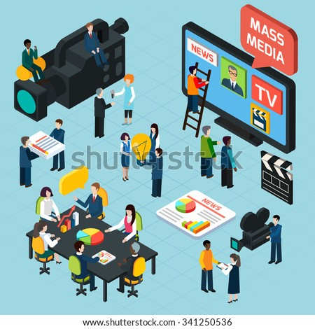 Mass media  isometric design concept set with journalists preparing news materials operators working with camera and interviewer vector illustration - stock vector