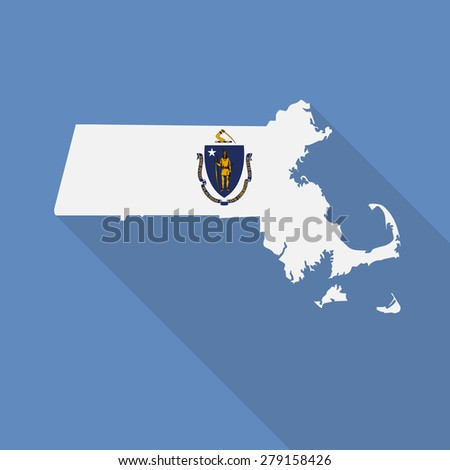 Massachusetts flag,map flat icon with long shadow. Vector EPS10 - stock vector