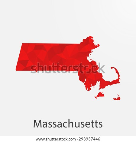 Massachusetts flag map in geometric,mosaic polygonal style.Abstract tessellation,background. Low poly vector illustration EPS10 - stock vector