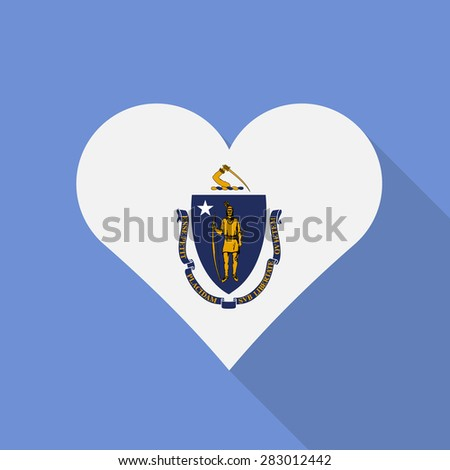 Massachusetts heart flag flat style with long shadow. Patriotic design. Vector EPS10 - stock vector