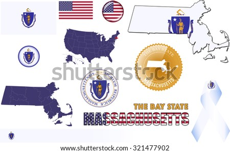 Massachusetts Icons. Set of vector graphic images and symbols representing the US State of Massachusetts. - stock vector