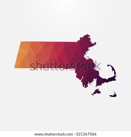 Massachusetts in geometric polygonal style. Abstract tessellation, modern design background. Vector illustration EPS10 - stock vector