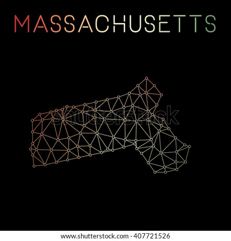 Massachusetts network map. Abstract polygonal Massachusetts network map design with wired lines and dots. Map of Massachusetts network connections. Vector illustration. - stock vector