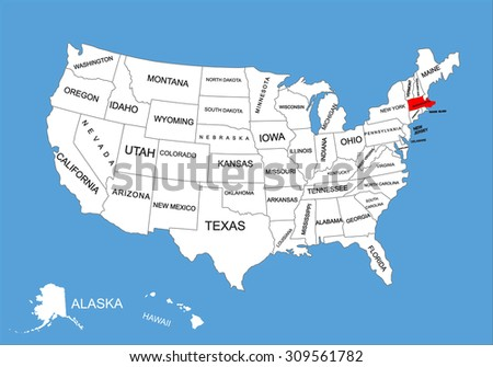 Massachusetts State, USA, vector map isolated on United states map. Editable blank vector map of USA. - stock vector