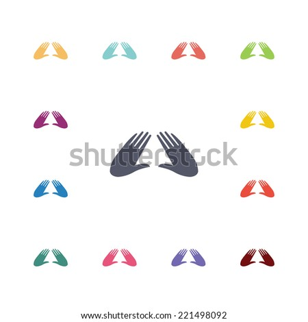 massage flat icons set. Open round colorful buttons. Vector