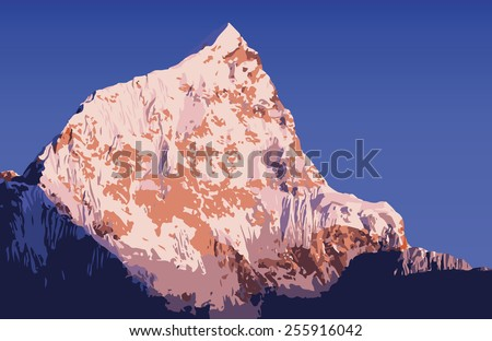Massive mountains vector in the Nepal Himalaya mountain range - stock vector