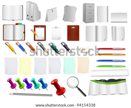 Massive office and stationery tools , use them as you like on any background - stock vector