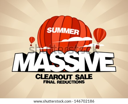 Massive summer sale design template with balloons carrying shopping bags - stock vector