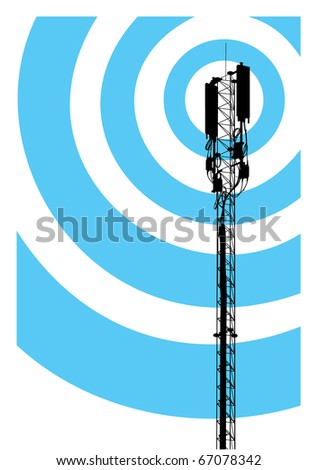 Mast of a mobile communication with aerials and radio-waves - stock vector