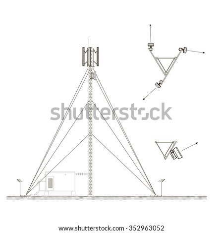 Mast with antennas of cellular communication. Microwave and cell site antennas. Vector illustration isolated on white background. Base station - stock vector