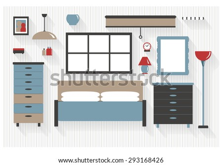 Master Bedroom Furniture with Drawers and Bed Flat Icons - All Long Shadows on one layer - contains blends  - stock vector