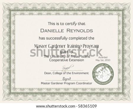Master Gardener Certificate Template - stock vector