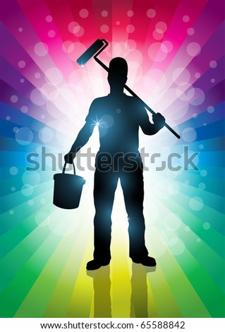 Master Painter illustration. Elements are layered separately. EPS10 - stock vector