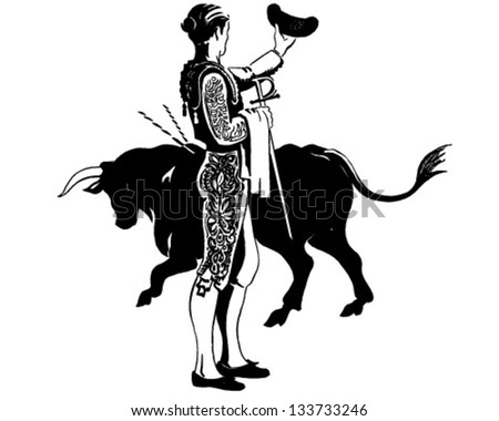 Matador With Bull - Retro Clip Art Illustration - stock vector