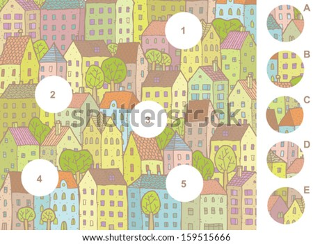 Match pieces, visual game. Answer: 1-E, 2-D, 3-B, 4-C, 5-A. Illustration is in eps8 vector mode! - stock vector
