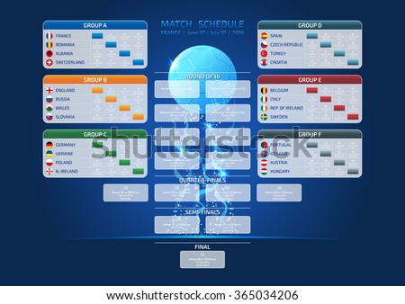 Match schedule, template for web, print, France 2016 football results table, euro 2016 poster, euro 2016 table, euro 2016 schedule, euro 2016 template, euro 2016 calendar, euro 2016 date - stock vector