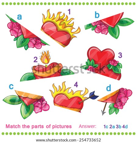 Match the parts of pictures of vector hearts - stock vector