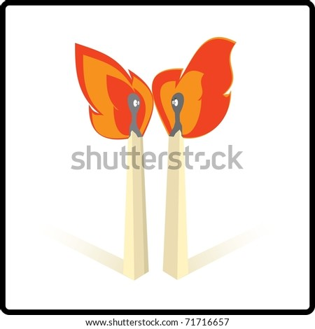 Matches on fire - stock vector