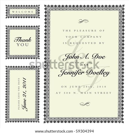 Matching set of ornate vector frames and ornaments with sample text. Perfect as invitation or announcement. All pieces are separate. Easy to change colors and edit. - stock vector