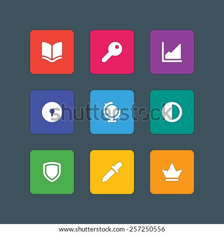 Material design style icons vector sign and symbols Book, Graph, Globe, Crown, Pipette, Shield, Key, Options, Lock. Elements for website, web banners, mobile apps, ui and other design.