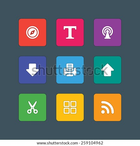 Material design style icons vector sign and symbols Compass, Text, Antenna, Arrow, Upload, Download, Printer, Signal. Elements for website, web banners, mobile apps, UI and other design.  - stock vector
