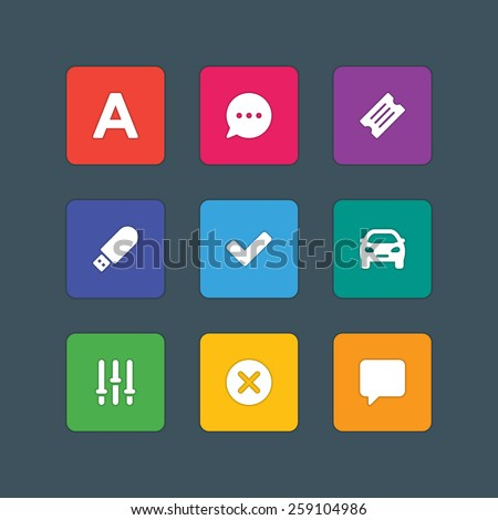 Material design style icons vector sign and symbols Letter, Speech bubble, Ticket, USB, Car, Options, Cross, Dialog. Elements for website, web banners, mobile apps, UI and other design.  - stock vector