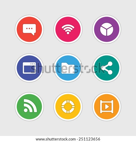Material design style icons vector sign and symbols: Message, Wi-fi, Chart, Folder, Share, Video. Elements for website, web banners, mobile apps, ui and other design.  - stock vector