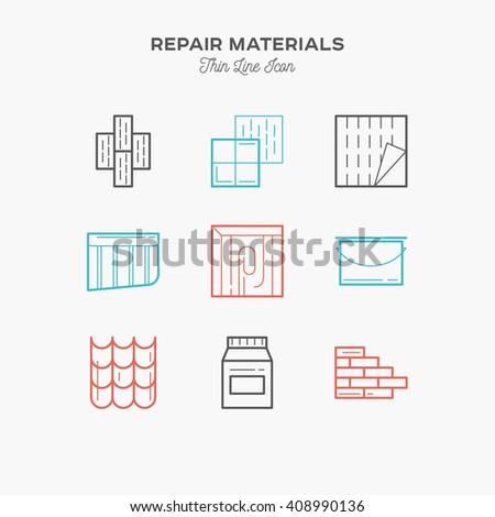 Materials for Repair and construction, thin line color icons set, vector illustration - stock vector