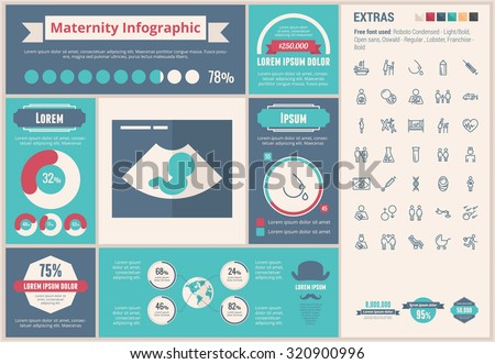 Maternity infographic template and elements. The template includes huge awesome set of thin line icons. Modern minimalistic flat vector design. - stock vector