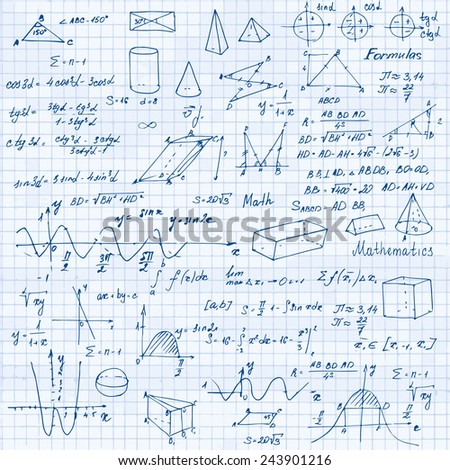 Math. Background with trigonometry formulas. Notebook in a cage. Vector illustration. - stock vector