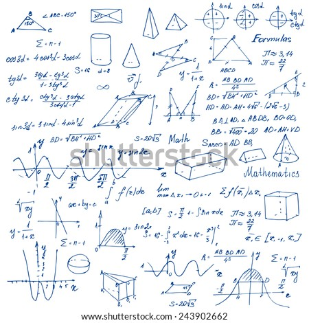 Math. Background with trigonometry formulas. Vector illustration.