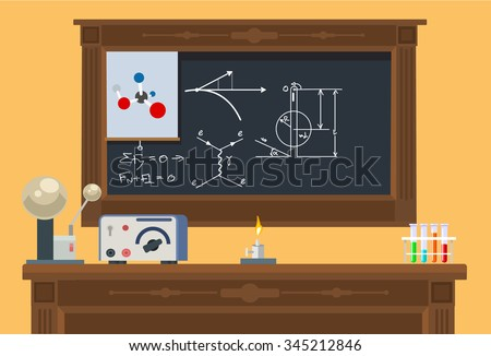 Math class. Vector flat illustration - stock vector