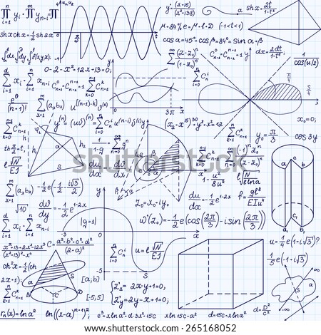 Math education vector seamless pattern with handwritten formulas, tasks, plots, calculations and geometrical figures. Endless texture. Mathematical background handwritten on a copybook grid paper