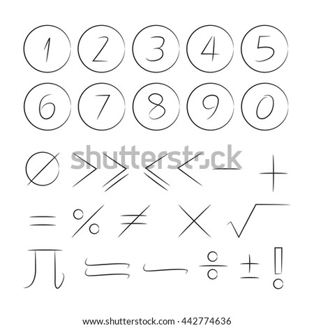 math icons and number - stock vector