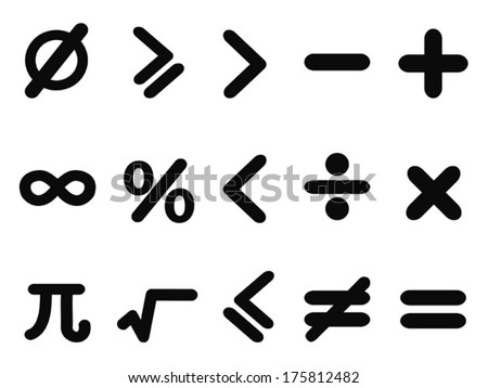 math icons set - stock vector