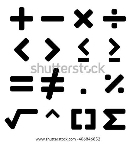 Math symbol in black color - stock vector
