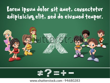Math symbols and kids on green blackboard. Boys versus girls. - stock vector