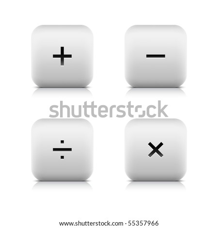 Math symbols on white stone web 2.0 buttons. Smooth rounded square shapes with shadow and reflection on white background. Mesh technique. - stock vector