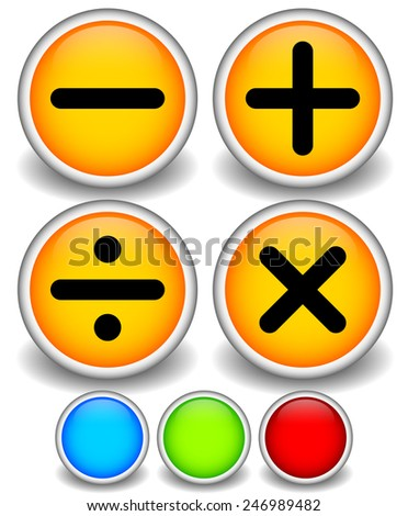 Math symbols: Subtract, add, divide, sum, multiply - stock vector