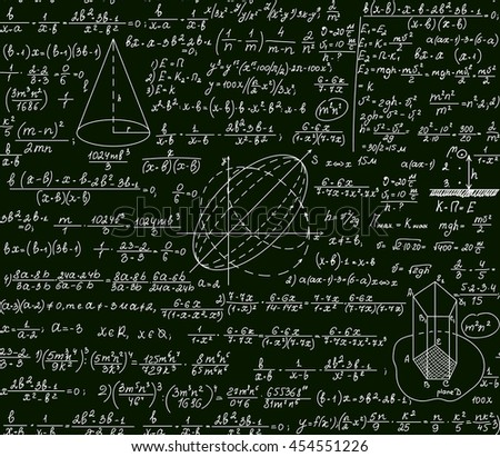 Math vector scientific technical seamless pattern with handwritten formulas, calculations, plots, signs, equations on a green background