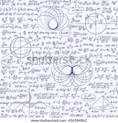 Math vector seamless texture with various mathematical signs, calculations, formulas, equations, figures. Algebraic endless pattern, handwritten on a grid copybook paper - stock vector