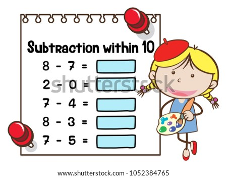 Math Worksheet Template Subtraction Within Ten Stock Vector ...