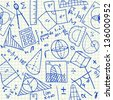 Mathematical doodles on school squared paper, seamless pattern - stock photo