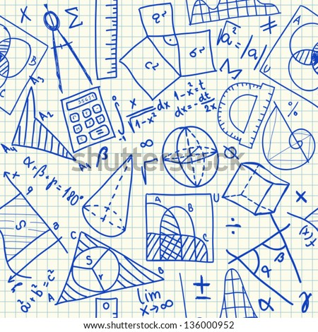 Mathematical doodles on school squared paper, seamless pattern - stock vector