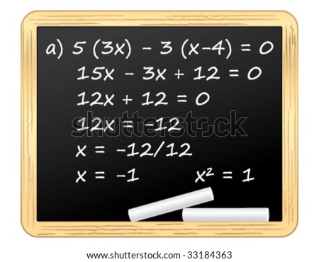 Mathematical equation on a blackboard. Vector illustration. - stock vector